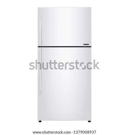 Top Mount Refrigerator Isolated on White. Front View of White Side by Side Double Door Refrigerator. Full Frost Free Fridge Freezer. Modern Kitchen and Domestic Major Appliances