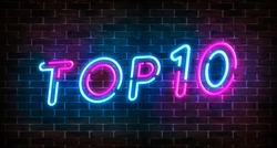 Top 10 neon blue and pink light text on empty red brick wall banner. Bright sign of top ten list winners at night. Design template of modern signboard or advertising.