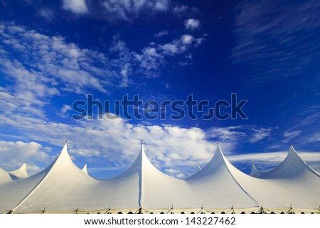 Top of a large event tent against a blue sky in Stowe, Vermont, USA #143227462