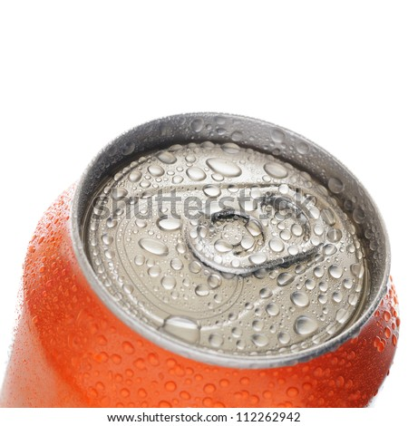 Top of aluminum can with drops of water isolated on white background