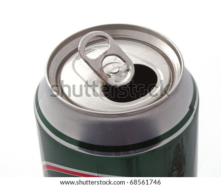 Top of an open drink can over a white background . - stock photo