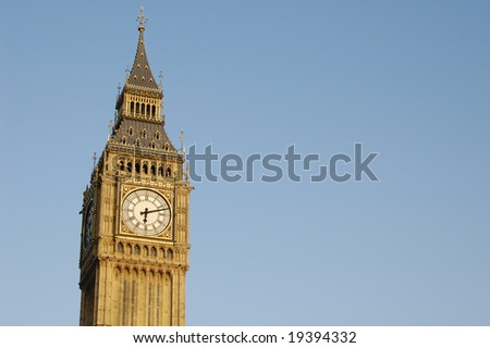 Top of Big Ben just before sunset, Westminster, London, England