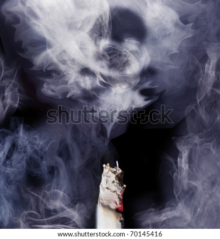 Top of cigarette with smoke coming out, danger sign is forming into the smoke. Blue toned studio shot. Square frame.