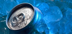 top of drink tin can iced submerged in frost ice, metal aluminum beverage.