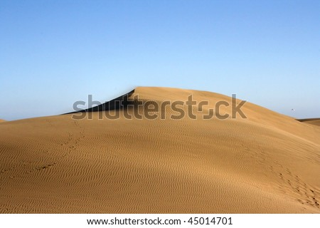 top of dune with wonderful texture on blue sky. Gran Canaria
