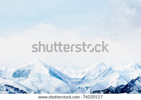 Top of High mountains, covered by snow. India.
