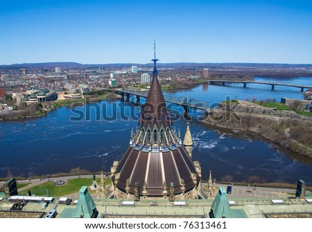 Top of Library of Parliament of Ottawa-Seen from the Tower of principal building.- And seen of Canal Rideau between Ottawa and Gatineau Québec