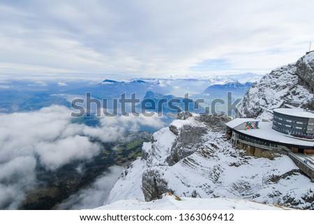 Top of Mount Pilatus in autumn - Aerial tram Station, Canton of Obwalden / Nidwalden / Lucerne, Central Switzerland, Switzerland #1363069412
