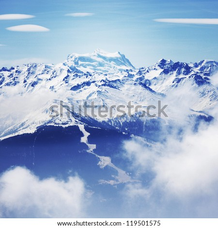 top of mountains in blue sky #119501575