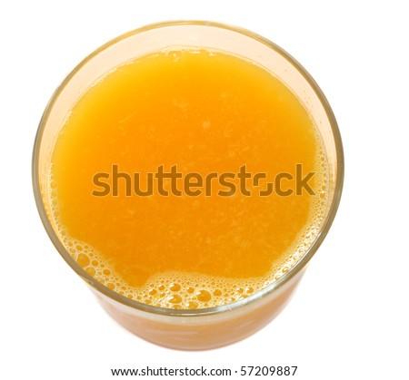 top of orange juice isolated on white background (close up)