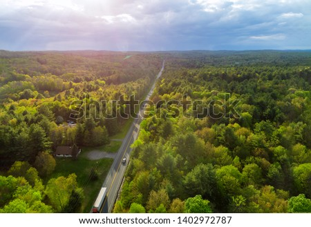 Top of Pennsylvania's Pocono Mountains rural landscape a rural road #1402972787