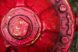 Top of red fire hydrant, close-up
