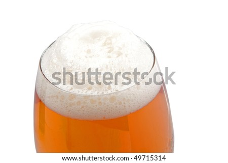 Top of the glass with beer foam with clipping path