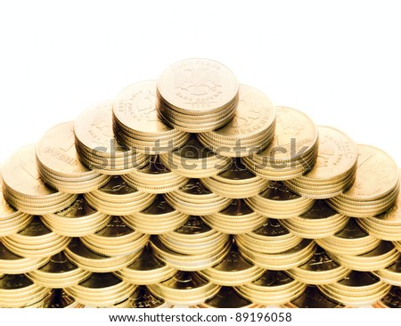 Top of the pyramid of coins isolated on white background