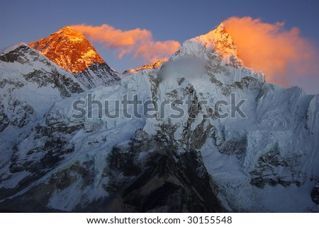 Top of the world Everest 8848m and Nupse 7864m  from Kalapattar, 5545m