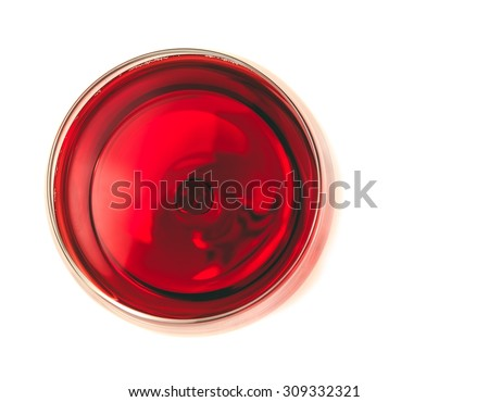 top of view of red wine in the glass isolated on white background with space for text #309332321