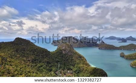 Top of view point on Vua Ta Lub Island. Ang Tong marine national park. Gulf of Thailand Zdjęcia stock ©