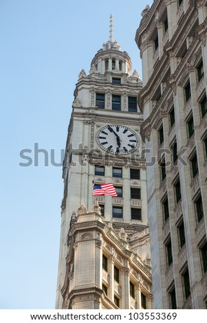 Top of Wrigley Building in Chicago in perspective shot taken from below - stock photo
