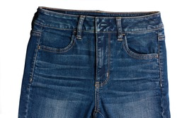 Top part of man jeans isolated on white background