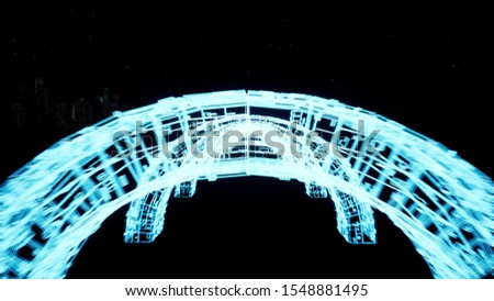 Top part of neon arch construction 3d render. Hypnotic flight inside details of virtual fluorescent archways. Futuristic cyberspace tunnel.