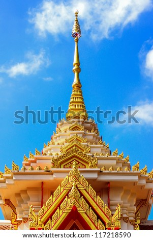 Top part of Thai Buddhist crematorium in temple, Northeast, Thailand