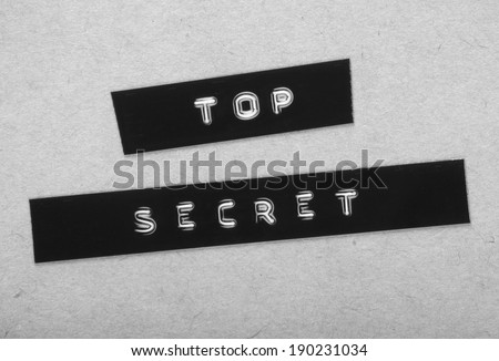Top Secret Label in black and white for a vintage cold war era espionage design