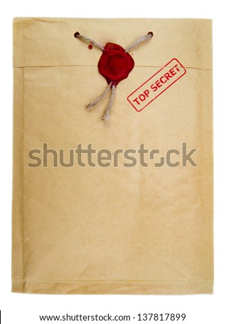 Top secret mail with knotted rope and wax seal isolated on white background.