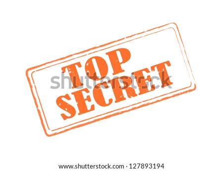 Top secret red old rectangular stamp