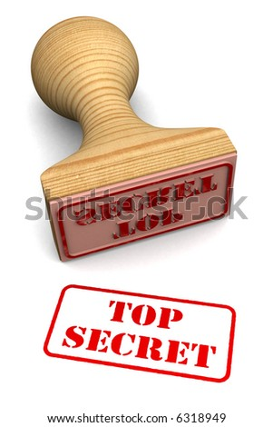 Top secret stamp test on white paper (High resolution 3d render) - stock photo