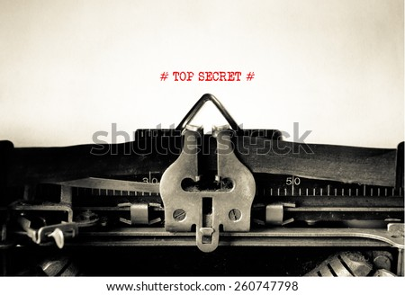 Top Secret typed on vintage typewriter