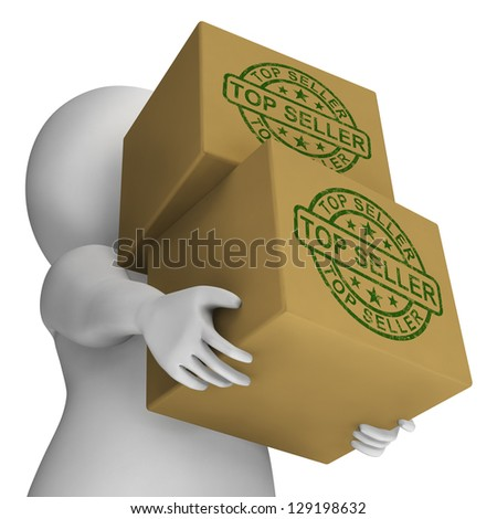 Top Seller Stamp On Boxes Shows Best Products