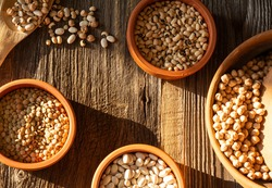Top shot of cowpea, chickpea, lentil and dried beans in clay bowls with wooden spoon.Pulses presentation on wooden background.