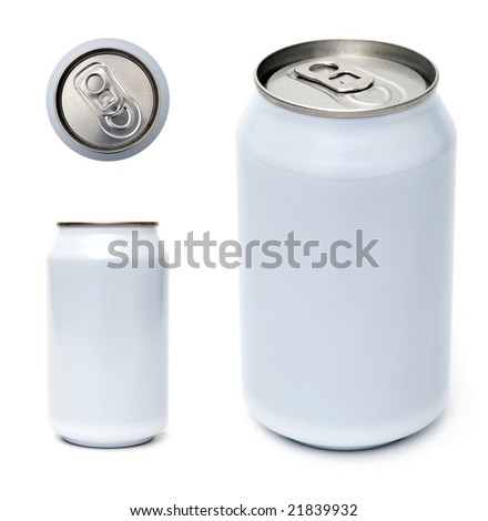 Top, side and perspective view of beverage can