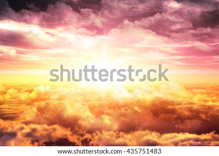 Top sky with clouds at sunset or sunrise.