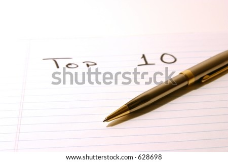 TOP TEN- Notepad & PenIsolated