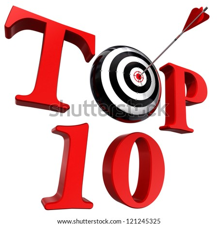 top ten red word with target and arrow on white background. clipping path included