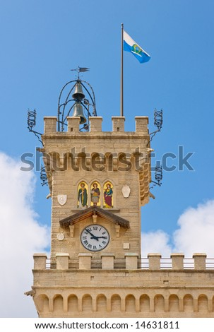 Top tower of town hall or Public Palace in San Marino on mount Titano. Also it is official Government Building of republic.