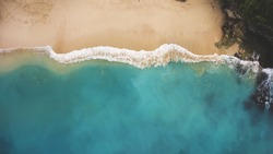 Top view aerial photo from flying drone of an amazingly beautiful sea landscape with turquoise water with copy space for your advertising text message or promotional content.Perfect website background