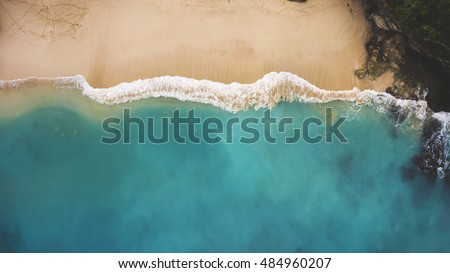 Stock Photo Top view aerial photo from flying drone of an amazingly beautiful sea landscape with turquoise water with copy space for your advertising text message or promotional content.Perfect website background