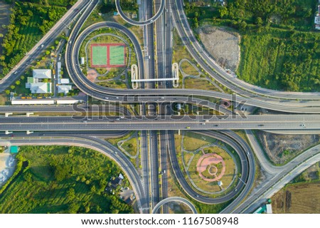 top view, aerial photos, Traffic on highway with cars. #1167508948