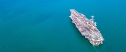 Top View Aircraft Carrier warship battleship In the ocean Navy