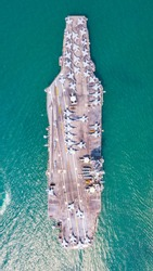 Top View Aircraft Carrier warship battleship In the ocean, Navy