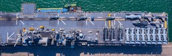 Top View Aircraft Carrier warship battleship of Navy