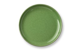 Top view,Antique green plate made of jade and brass. With beautiful patterns, plate tea or coffee and hot water isolated on white background.