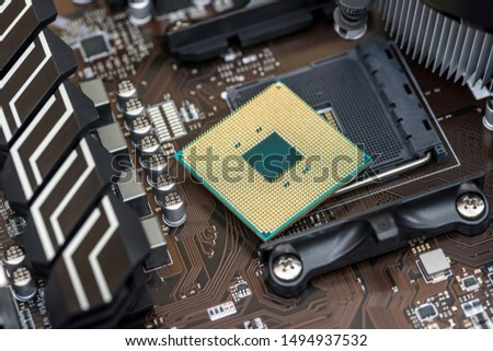 Top view at cpu of motherboard of personal computer #1494937532