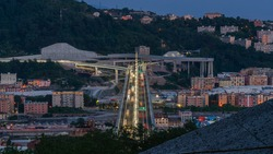 Top view at night of the new San Giorgio bridge in Genoa, Italy.