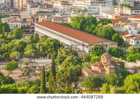 Top view at the Ancient Agora of Athens, Greece.