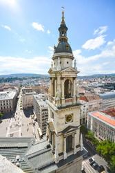 top view at the historical buildings Budapest city from the St. Stephen's Basilica in the capital Hungary