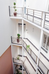 Top view at the inner courtyard in office or residential building