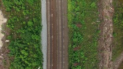 Top view at the two lanes railroad